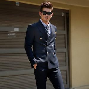 Image 3 - TPSAADE Mens Black Double Breasted Korean Slim Fit Suit Gentleman Suit Business Groom Wedding Dress (Top Jacket + Trousers)247