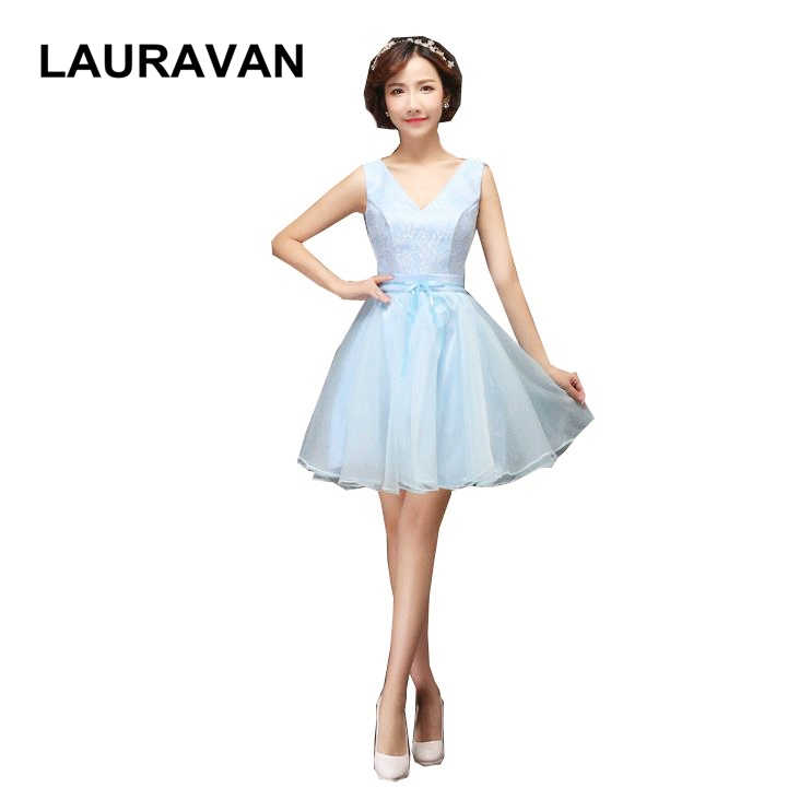 f5c99952515 girls embellished cute puffy short vintage tulle light sky blue dress party  bridesmaid dresses modest cute