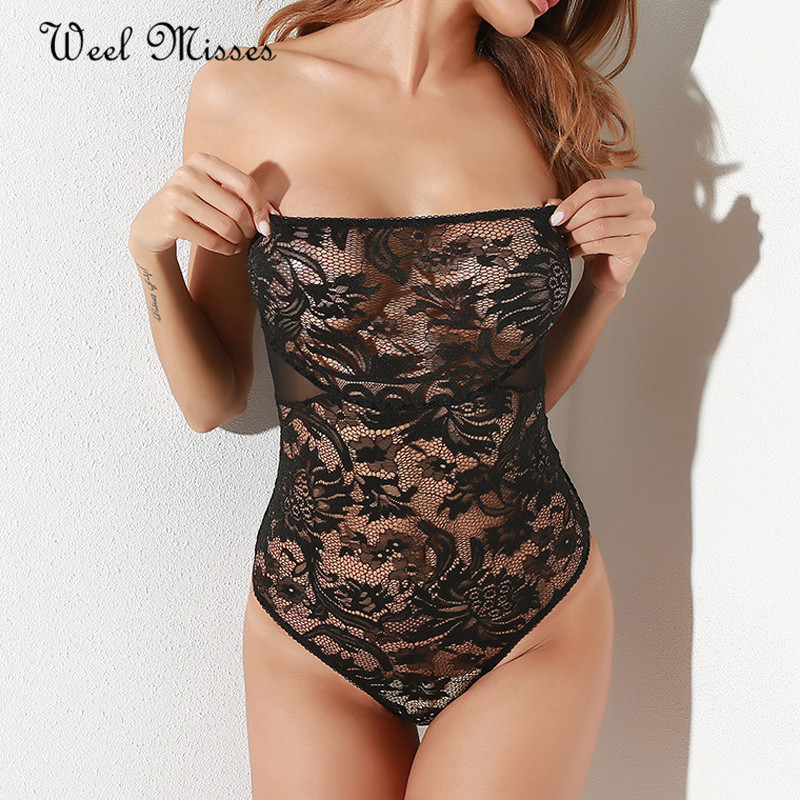 Weel Misses New Arrival 2017 Women Sexy Onesies Lace Slash Neck Nightwear Sleeveless Homewear ...