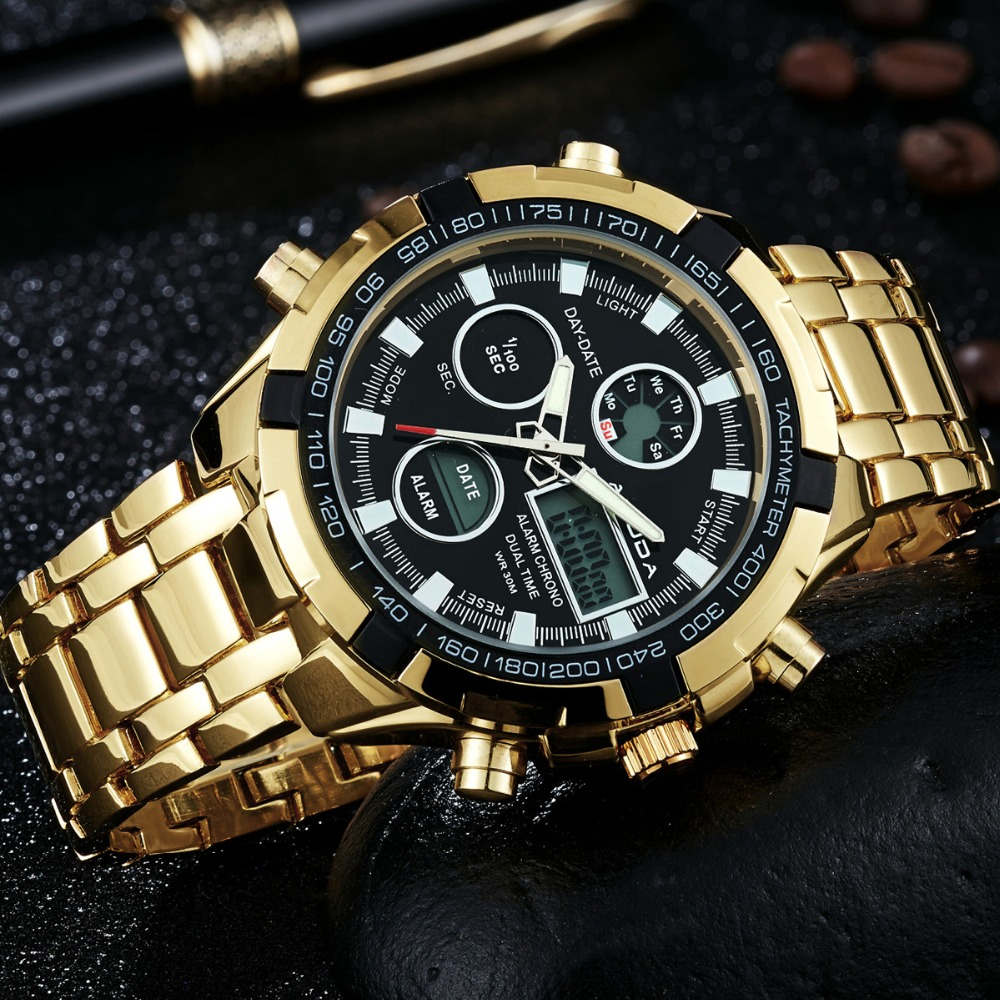 2017 New Luxury Brand AMUDA Men Army Military Watch Men's Quartz LED Digital Clock Full Steel Wrist Watch Men Sports Watches brand amuda fashion digital watch men led full steel gold mens sports quartz watch military army male watches relogio masculino