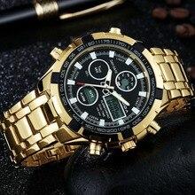 Новинка 2017 года Элитный бренд amuda Для Мужчин Армия Военное Дело часы Для мужчин кварцевые светодиодный цифровой часы Полный Сталь наручные часы Для мужчин Спортивные часы
