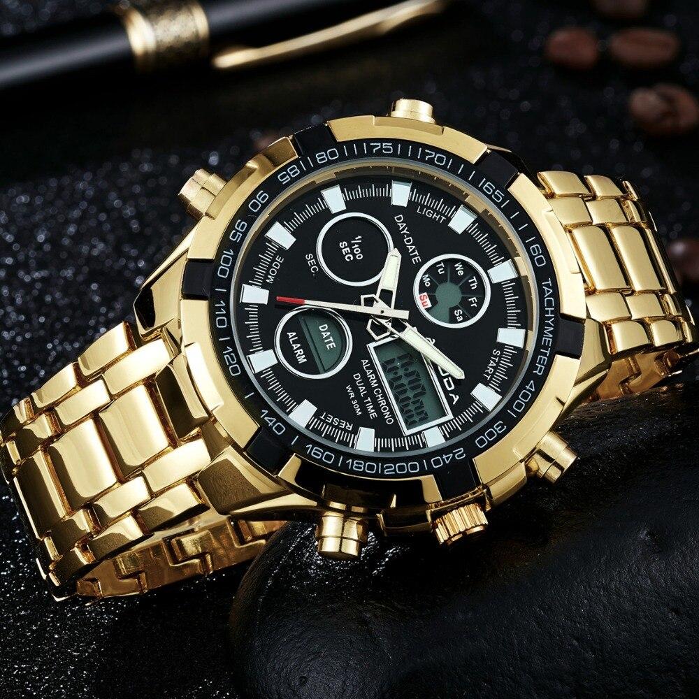2018 Nouveau Luxe AMUDA Hommes Armée Militaire Montre Hommes de Quartz LED Numérique Horloge En Acier Plein Montre-Bracelet Hommes Sport montres