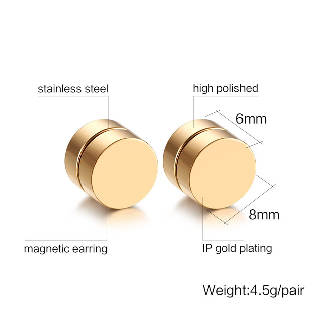 8MM Mens Earring Set Stainless Steel Circle Magnetic Clip Stud Earrings Magnet Fake Plugs No Piercing.jpg 640x640 - 8MM Mens Earring Set Stainless Steel Circle Magnetic Clip Stud Earrings Magnet Fake Plugs No Piercing Clip On Jewelry