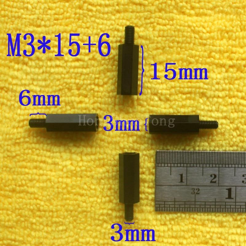 1 pièces M3 * 15 + 6 En Nylon Noir Entretoise Standard M3 Mâle-Femelle 15mm Entretoise Kit Kit De Réparation De Haute Qualité