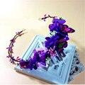 Moda de la mariposa Flower Florals flor Artificial corona Hydrangea casco de la boda nupcial accesorios para el cabello de la venda púrpura