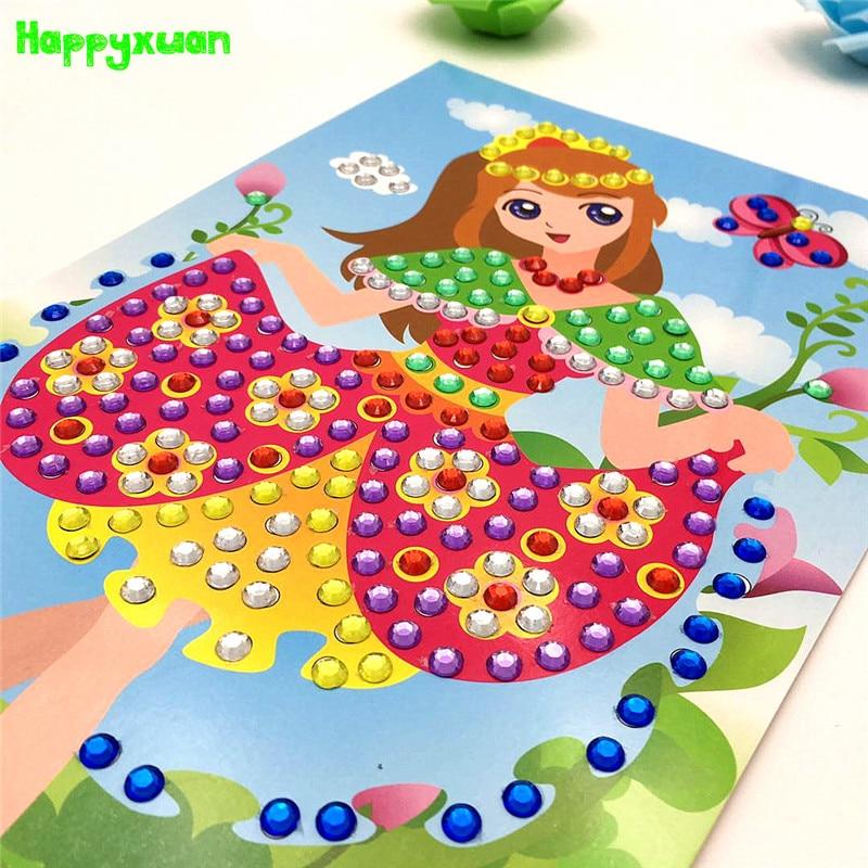 Happyxuan 5pcs DIY 3D Sticky Mosaic Art Sticker Puzzle For Children Kids Crafts Toys For Kindergarten Baby Creative Game Girls