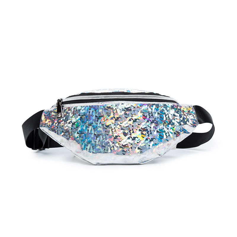 New Designer PU Leather Cute Women Fashion Waist Bags Fanny Packs Chest Shoulder Purse For Girls Phone Sequin Bright Colorful