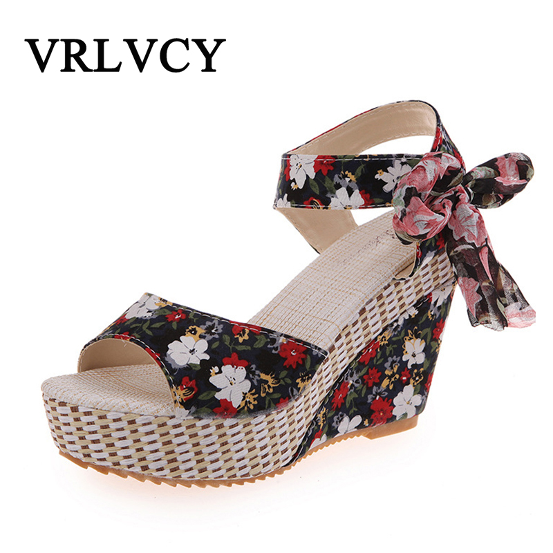 New Arrival Ladies Shoes Women Sandals Summer Open Toe Fish Head Fashion Platform High Heels Wedge Sandals Female Shoes Women in the summer of 2016 the new wedge heels with fish in square mouth denim fashion sexy female cool shoes nightclubs
