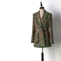 High Quality Customized Women Green Plaid Tweed Coats Tassel Double Breasted Medium Long Blazers Y087