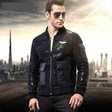 2015 Air force Burst locomotive Fur Male Sheepskin jacket Men's leather jackets Men's fur coat