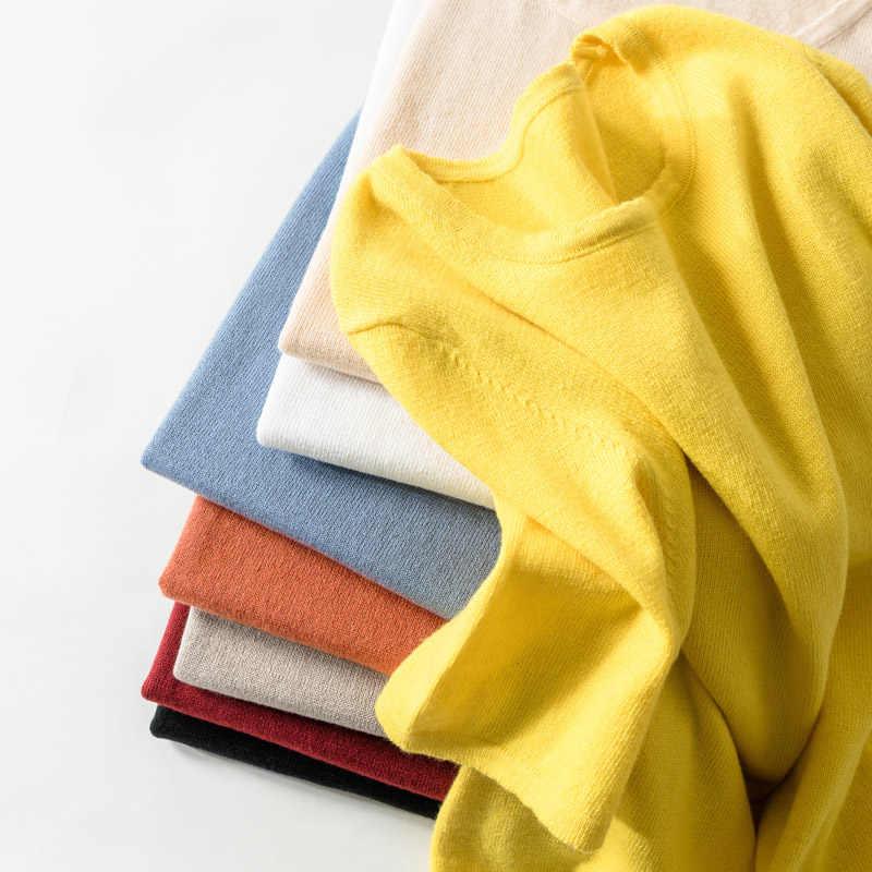 2019 primavera mujeres O collar suéter nuevo estilo media manga Circular collar suéter delgado y delgado Simple casual suéter