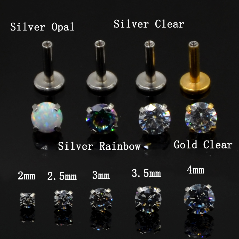Big Deal 1pcs New Arrival 16g Internally Thread Opal Zircon Stone