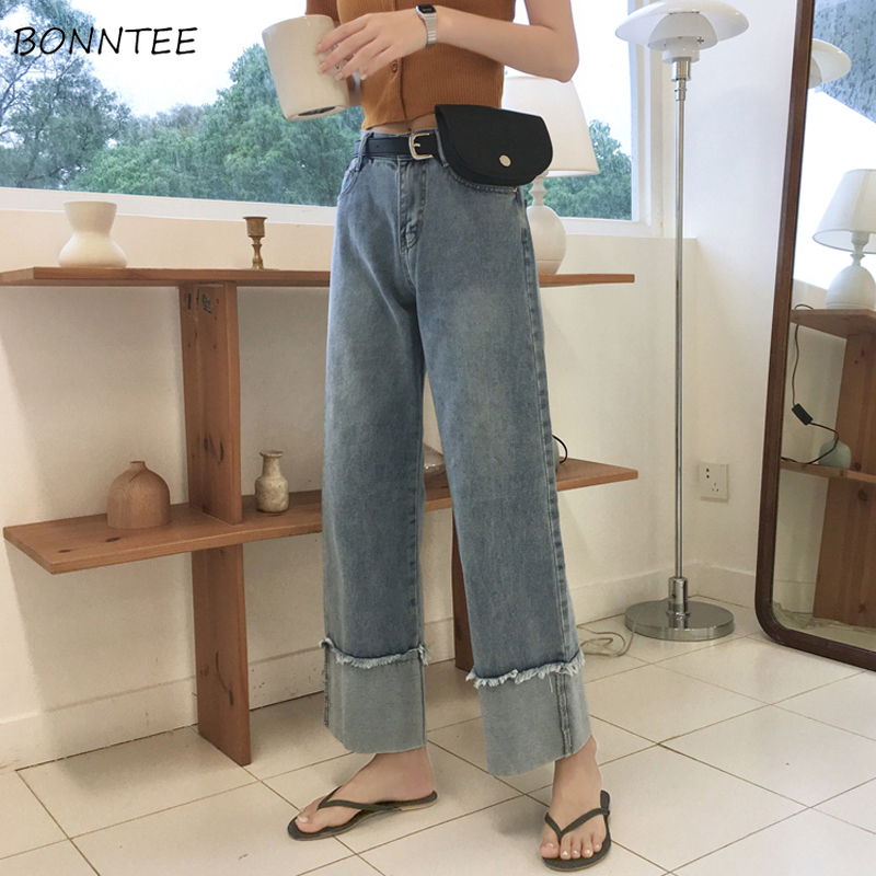 Jeans Women Solid Trendy Elegant All-match High-quality Korean Style Loose Leisure Daily Womens Female Lovely Simple 2019 Chic