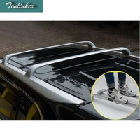Tonlinker 4PCS Car styling aluminum alloy Cross roof bar luggage racks/roof rail Stickers for TOYOTA HIGHLANDER 2015 accessories