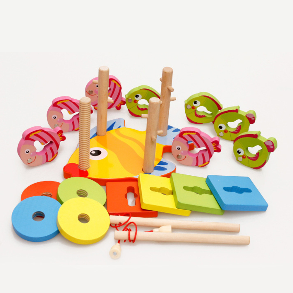 Baby 3D Jigsaw Puzzle Magnetic Fishing Game Board Wooden Cartoon Fishing Toys Children Education Toy for