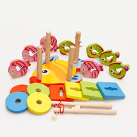 Magnetic Fishing Board Wooden Geometric Puzzle Board Environmental Water Based Paint Magnetic Fishing Board Kids Educational