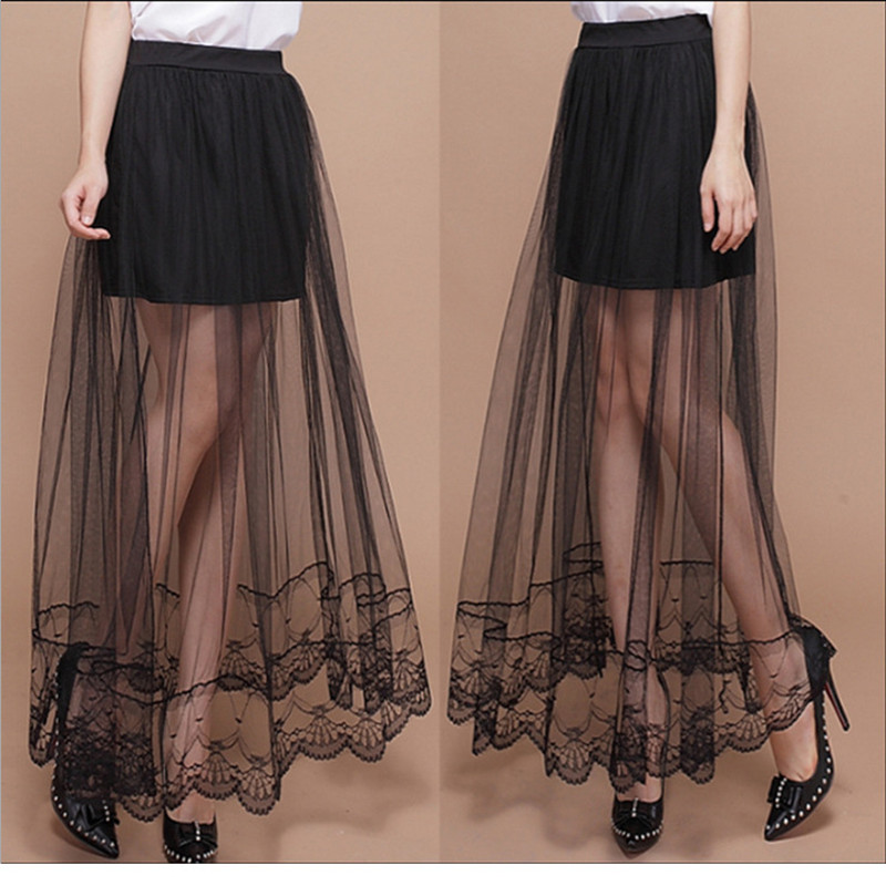 2016 New Summer Women Sexy Lace Skirts Womens Fashion Long Section Skirt Tulle Black And White Skirt