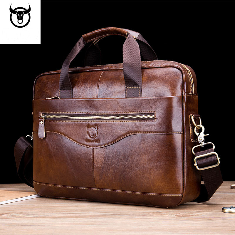 Genuine Leather Men's Briefcase Business Messenger Bags Man Shoulder Bag Cowhide Male Handbag High Quality Sacoche Homme WBS693