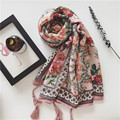 2017 NEW high quality Super-beautiful women scarf retro printed cotton linen Bohemian national style printing travel scarves