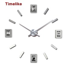 2018 New Living Room Photo Frame Clock DIY Home Decor 3D Wall Sticker Clock Large Quartz Clock Watch Horloge