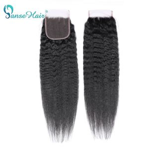 Image 5 - Panse Hair Kinky Straight Hair 3 Bundles Deals with closure Mongolian Hair Weave Coarse Yaki Human Hair Non Remy Hair Extension
