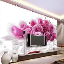beibehang 3d Wallpaper Mural Wall Stickers Fantastic Elegant Pink Rose