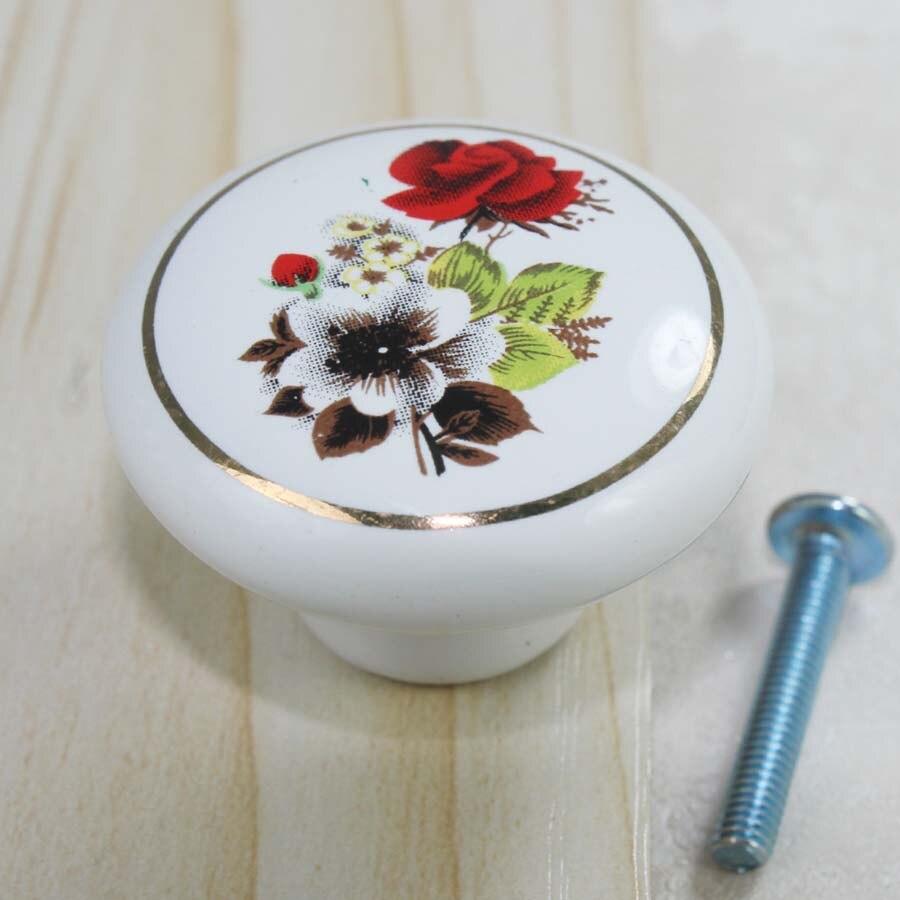 38mm fashion rustico pastorale ceramic modern furniture knobs white red gold porcelain drawer cabinet dresser knobs
