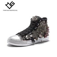 Стеклопакет дамские туфли на плоской подошве из парусины Бисер Лидер продаж Ins в стиле хип хоп Брендовая обувь кроссовки для Женские туфли