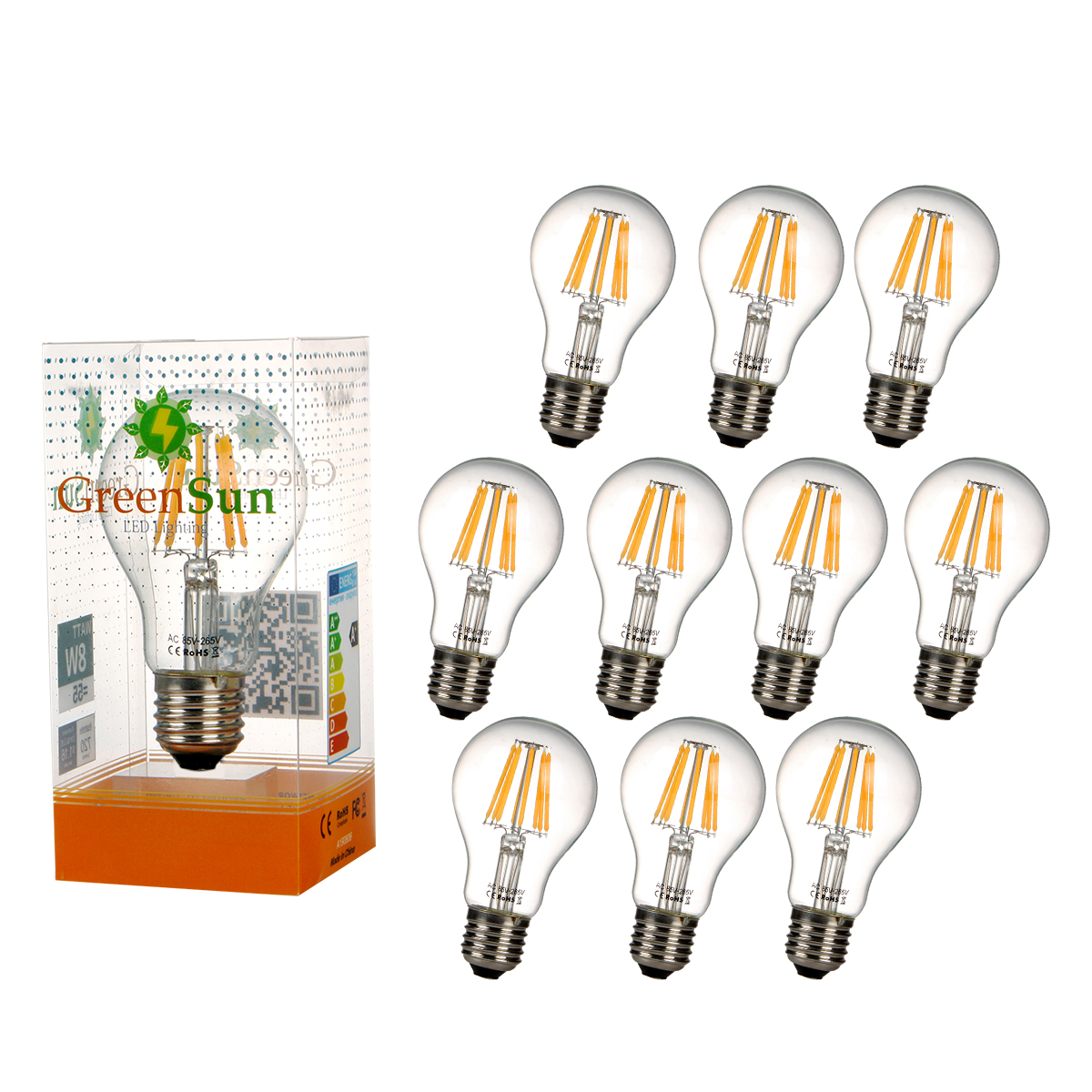 10Pcs E27 8W Edison Filament Warm White LED Energy Saving Bulb Light Lamp high brightness 1pcs led edison bulb indoor led light clear glass ac220 230v e27 2w 4w 6w 8w led filament bulb white warm white