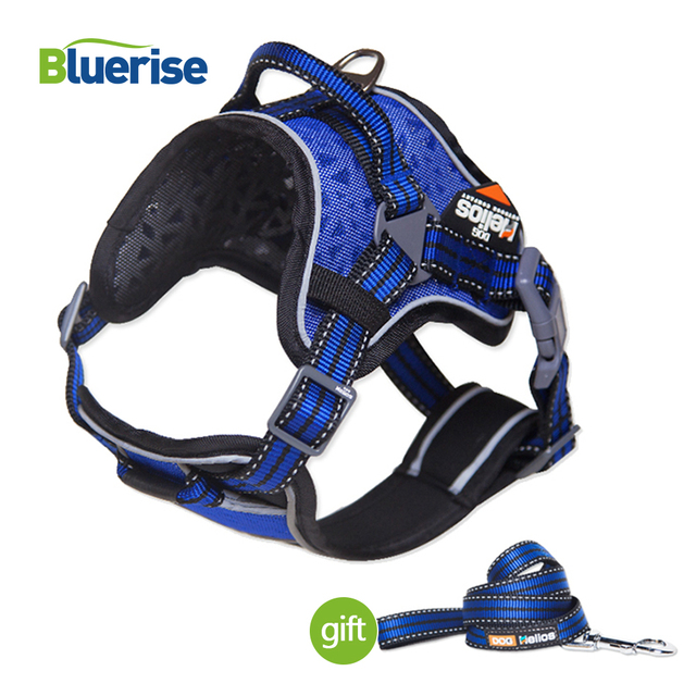 Reflective Nylon Dog Harness Vest Padded Adjustable Safety Pet Harness All Weather Walking Training Leash for Medium Large Dogs