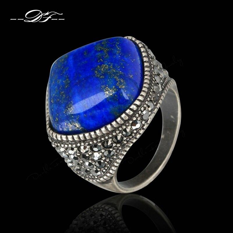 Punk Semi-precious Stone Lapis Lazuli Finger Rings s