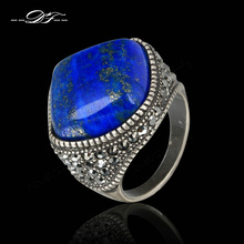 Punk Semi-precious Stone Lapis Lazuli Finger Rings Antique Silver Plated Fashion Brand Vintage Jewelry anel Wholesale DFR179