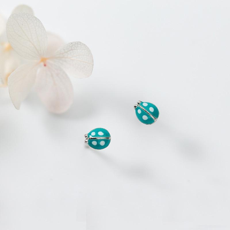 MloveAcc 925 Sterling Silver Cute Ladybug Stud Earrings Fashion Women Enamel Insect Earrings For Girls Kids