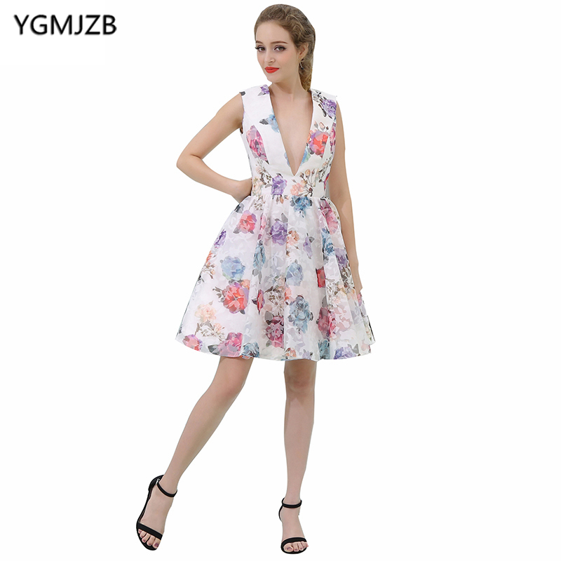 New Arrival Foral Print   Cocktail     Dresses   2018 A Line V Neck Cap Sleeve Short Prom   Dress   Party   Dress   Vestido De Festa Curto