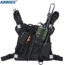 ABBREE หน้าอกสายรัดด้านหน้ากระเป๋าเสื้อกั๊ก Rig สำหรับ Two Way Radio Walkie Talkie (Rescue Essentials) (สีดำสะท้อนแสง)