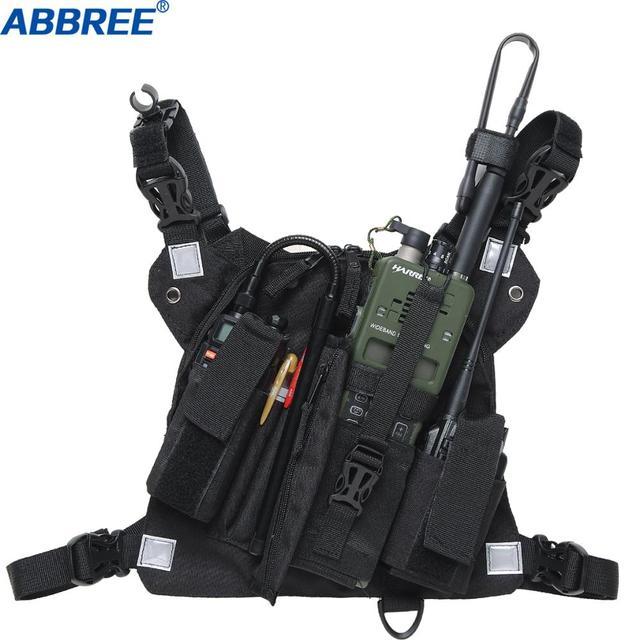 ABBREE חזה לרתום קדמי חבילת פאוץ נרתיק אפוד Rig עבור שתי דרך רדיו ווקי טוקי (הצלת יסודות) (רעיוני שחור)