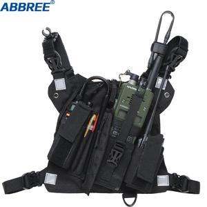 Image 1 - Abbree chest harness 프론트 팩 파우치 홀스터 조끼 리그 양방향 라디오 워키 토키 (rescue essentials) (reflective black)