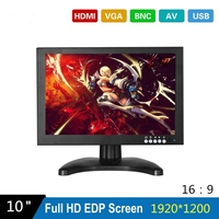10 Inch EDP 1920X1200 CCTV Monitor with Metal Shell & HDMI VGA AV BNC Connector for PC Multimedia & Donitor Display & Microscope