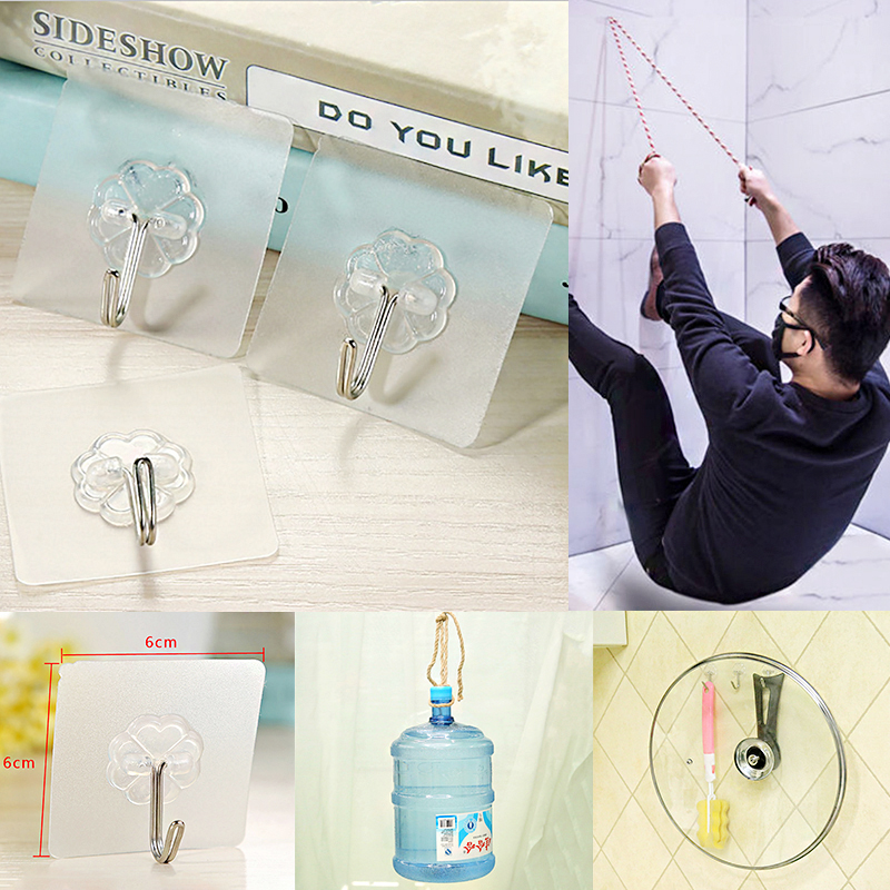 1/5/10 PCS Strong Suction Cup Hook Transparent Sucker Wall Mounted Hanger Kitchen Hanging Tool Bathroom Hook Storage  Key Holder