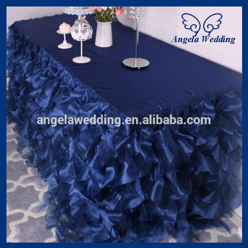 CL010N elegant 6ft rectangle table 30 wide 72 long 30 drop fancy wedding frilly navy blue