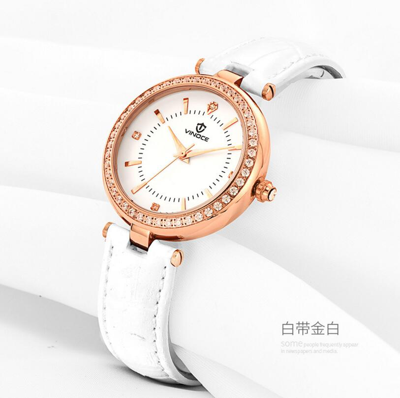 Vinoce Top Brand Luxury Women Watch Fashion leather Quartz Watches Ladies RED Simple Style Casual Wristwatch Elegant Relojes belbi simple style steel mesh women watch top brand luxury quartz ladies watches elegant fashion dress analog wristwatch clock