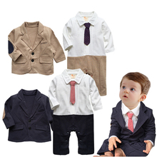 2PCS/0-24M/Spring Autumn Baby Boys Suits Kids Clothes Set Gentleman Jumpsuit Newborn Rompers+Jacket Brand Infant Clothing BC1267