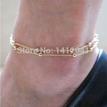 FD765 Beautiful Fashion Sexy Nice Double Layer Beads Charm Foot Fashion Jewelry Ankle Bracelet 1pc