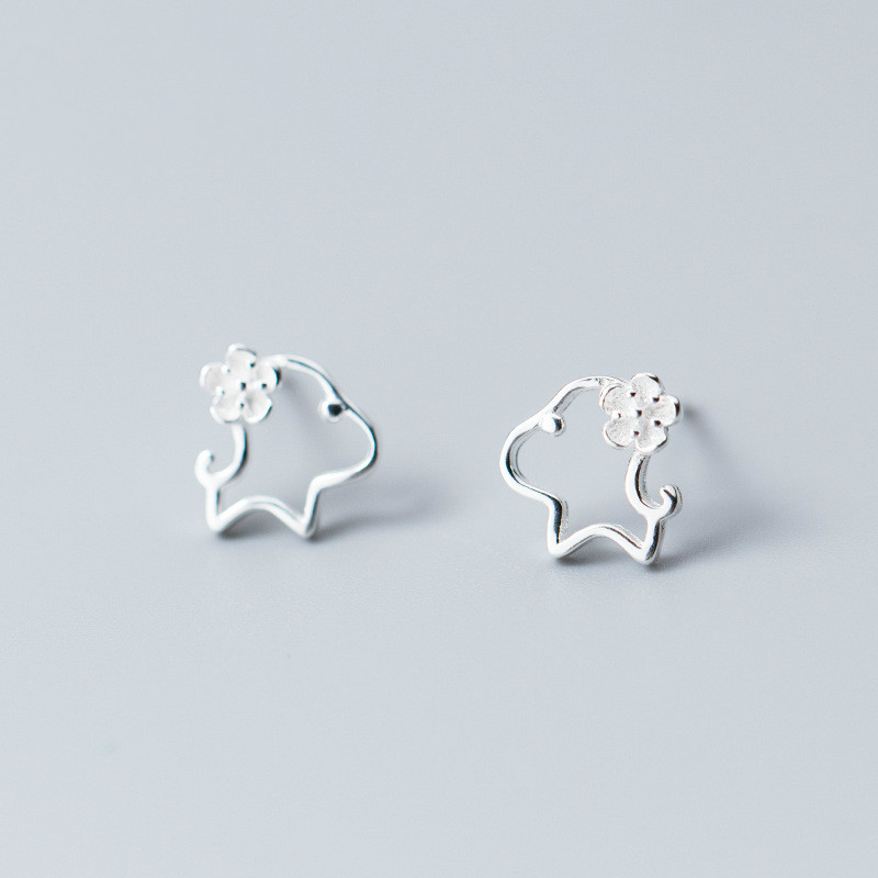 Aggressive 100% 925 Sterling Silver Loyal Partners French Bulldog Dog Animal Small Stud Earrings For Women Jewelry