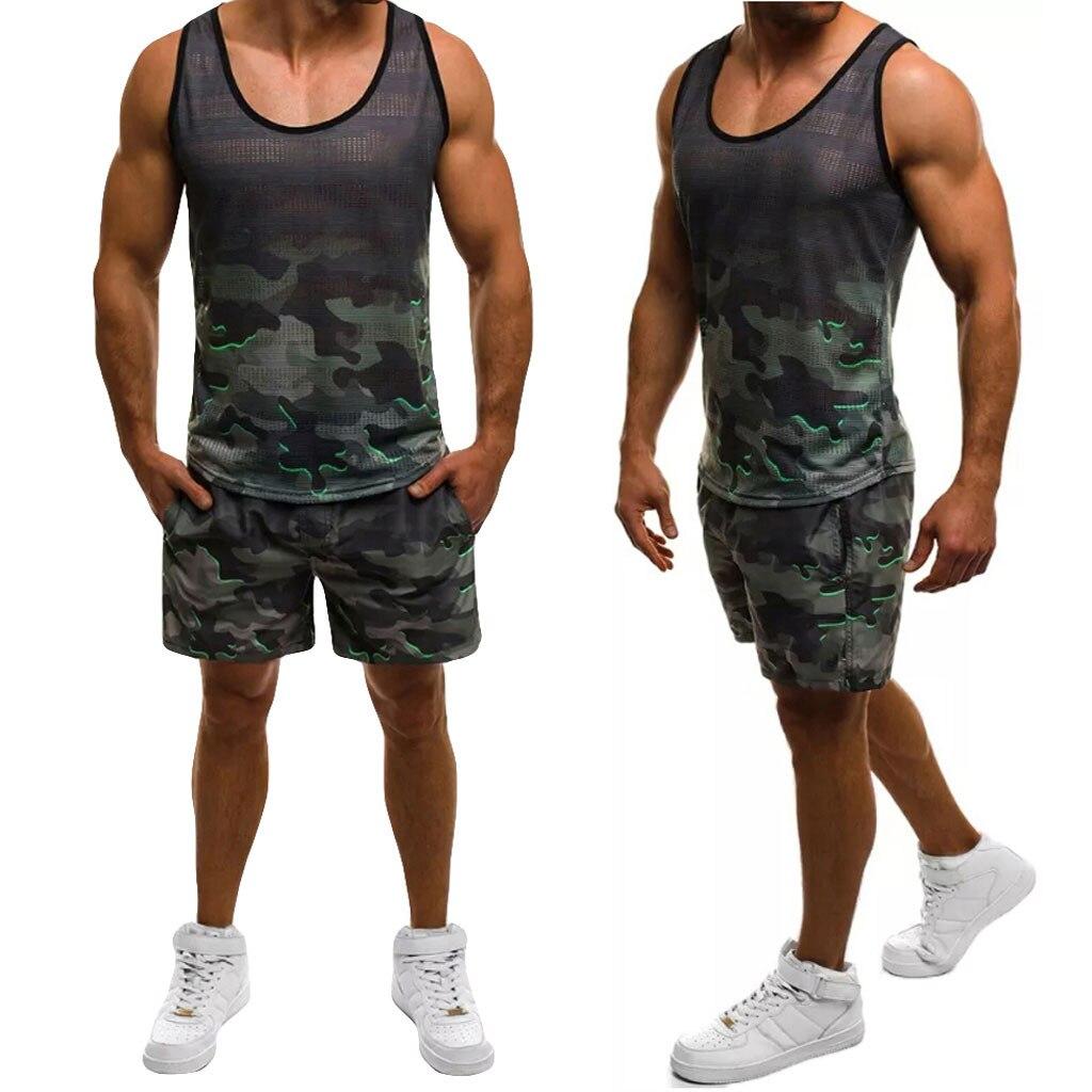 Men's Summer Suit Camouflage Sleeveless Suit Casual Vest Shorts Sports Suit Polyester Round Neck Print Set Top Blouse Y610