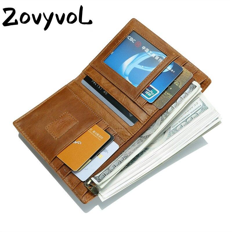 ZOVYVOL 2019 MEN WOMEN PURSE Vintage Crazy Horse Genuine Leather Men Wallet Short Style Male Cowhide Card Holder Pocket