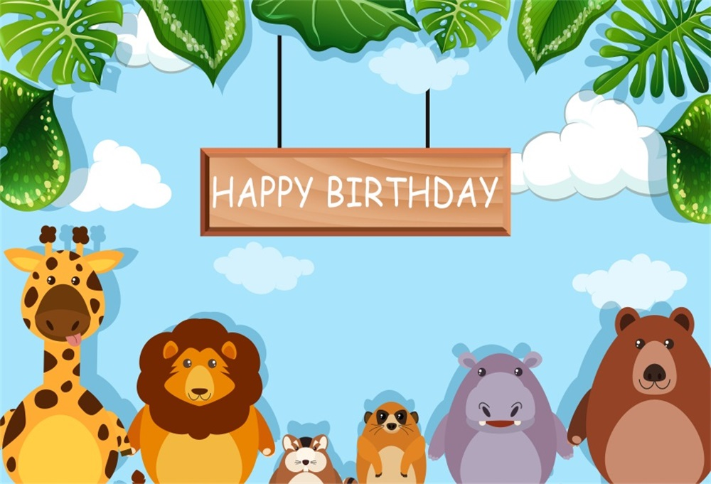 Laeacco Happy Birthday With Animals Cartoon Scenic Baby Children Photography Backdrops Photographic Backgrounds For Photo Studio