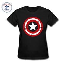 Fashion Women Clothes Short Sleeve Tshirt Hot High Quality Cotton Girl's Captain America Printed Funny T Shirt Women