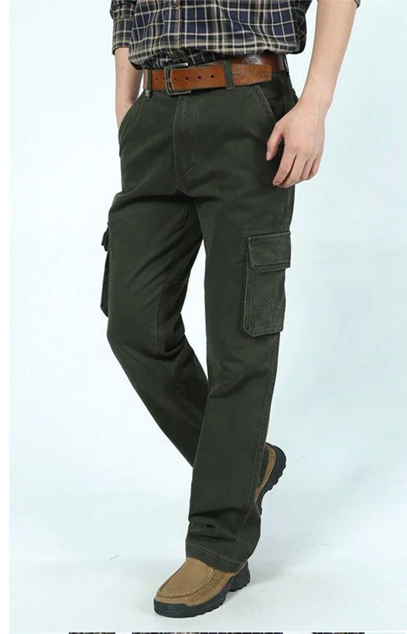2015 New Autumn Winter Men\'s Cotton Cargo Long Pants High Quality Casual Straight Thick Pants Plus Size Trousers AFS JEEP 30~44 (5)