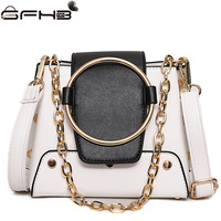 Chains Bucket Bags Women Handbags Famous Brands Michaeled Handbag Fashion Style Ring Design Leather Crossbody Bag